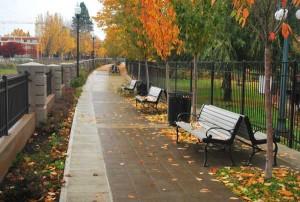 308-Ornamenal iron fence in the fall @ Mission Mill, Salem, Oregon