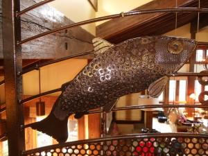 235 Custom ornamental iron railing w/mill parts, Neskowin, Oregon