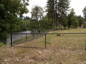 220 black chain link fence, Mill City, Oregon