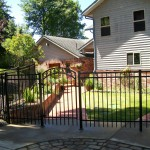 201 Design A-3 Ornamental Iron fence with custom gate, Newport, Oregon