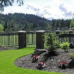 195 Ornamental Iron panel fence w/walk gate