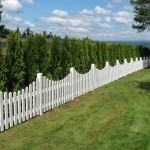 175 Scalloped white vinyl fence, Estacada, Oregon