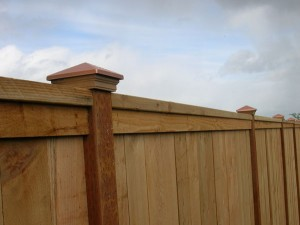 169 Cap & trim privacy fence with decorative post caps