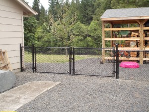 146 black chain link fence with entry gate, Mill City, Oregon