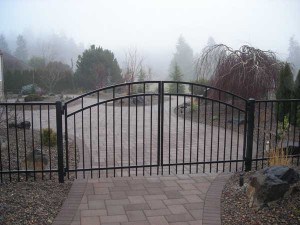 142 ornamental iron fence with entry gate