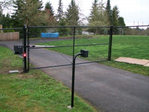 123 black chain link fence & gate with gate operator and keypad
