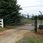 121 ornamental iron entry gate with solar gate operator