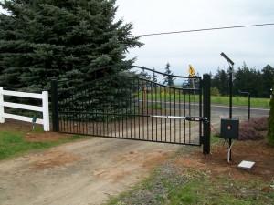 121 ornamental iron entry gate with solar gate operator