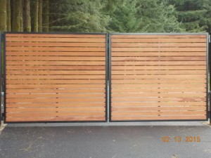 114 Ornamental iron w/stained mahogony slats with/gate operator, Salem, Oregon
