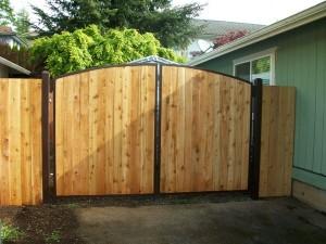 112 Ornamental iron framed wood gate, Albany, Oregon