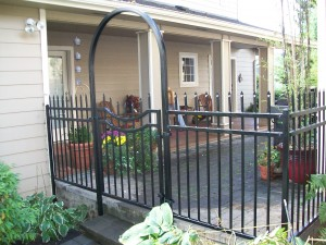 77 Ornamental iron fence and walk gate, Dallas, Oregon