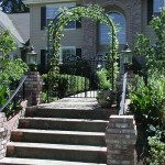 107 custom ornamental iron gate w/arbor