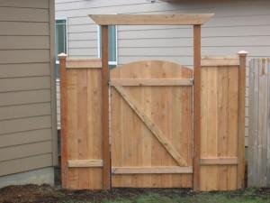 69 Wood privacy cap & trim with walk gate, inside photo