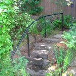 59 Ornamental iron handrail, garden, Silverton, Oregon