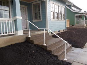 58 White ornamental iron handrail, Monmouth, Oregon