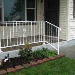 41 White ornamental iron railing, Woodburn, Oregon
