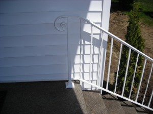 29 Detail, White Ornamental Iron handrail