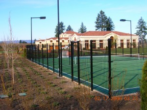 359-custom fencing tennis court for owner of Evergreen Space Museum, McMinnville, Oregon