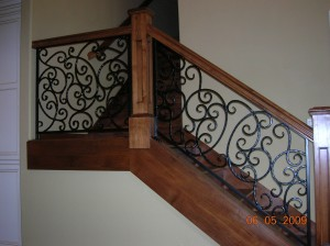 352-custom ornamental iron interior residential stair railing