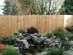 341-Residential dog-eared solid one side wood fence for garden